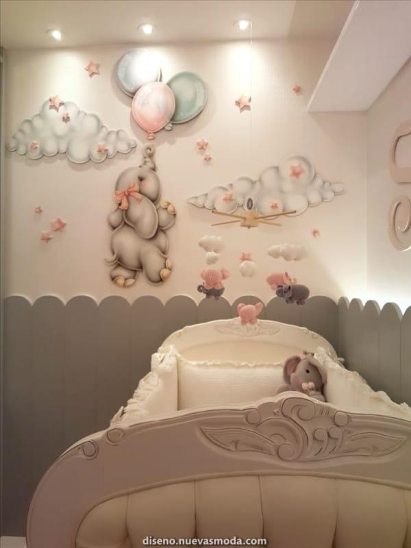 temas para quarto de bebê elefante estilo provençal
