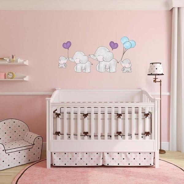 temas para quarto de bebê elefante rosa lindo