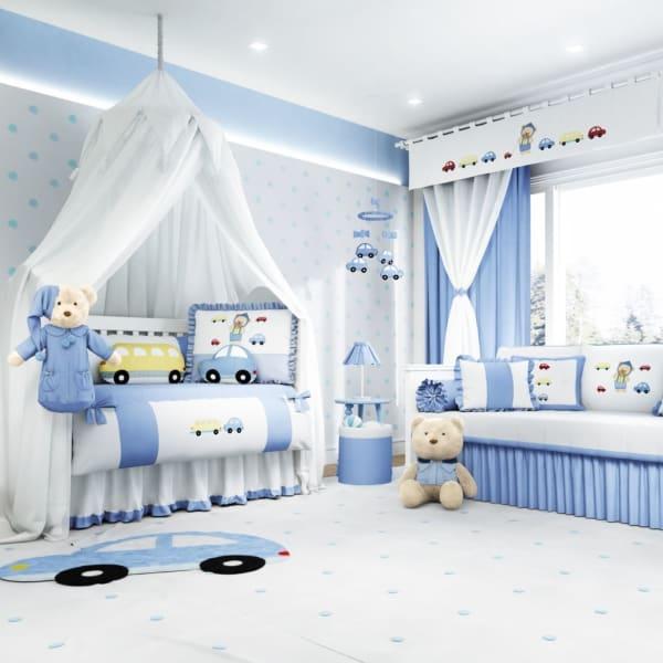 temas para quarto de bebê urso azul e branco
