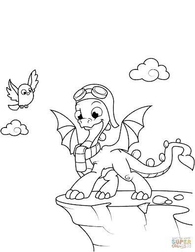 desenho fofo de filhote de dragão para pintar