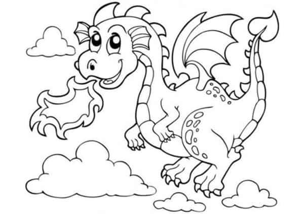 desenho de dragão voando para pintar