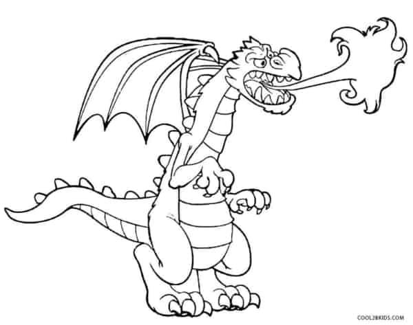 dragão cuspindo fogo para colorir