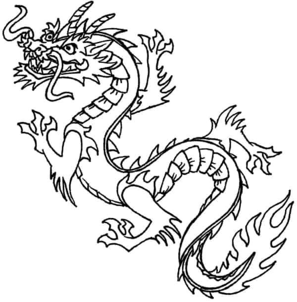 desenho de dragão chinês para imprimir