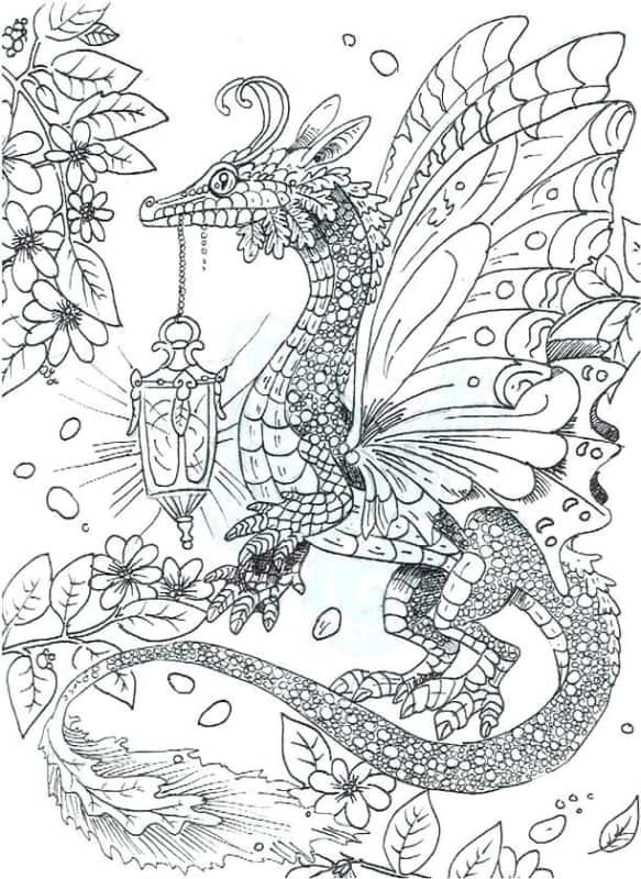 desenho detalhado de dragão para pintar