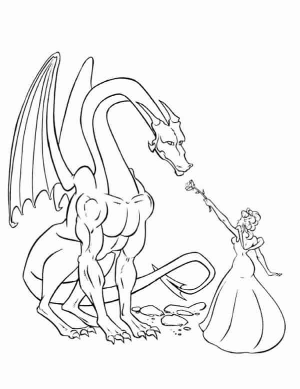 desenho de dragão com princesa para colorir