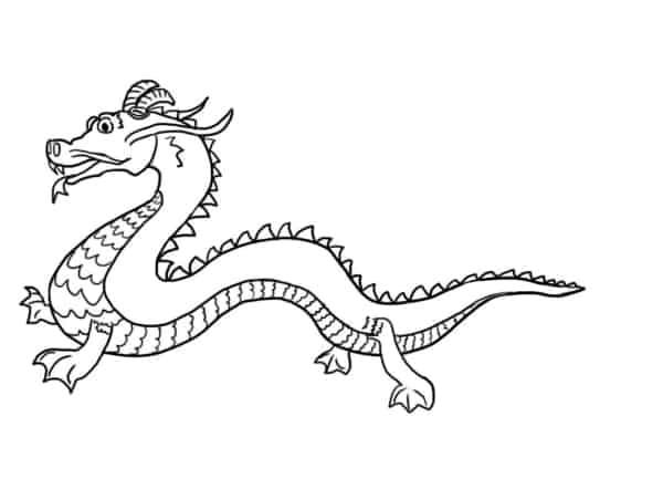 desenho simples de dragão chines para colorir