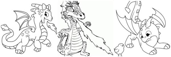 atividades de dragão para pintar