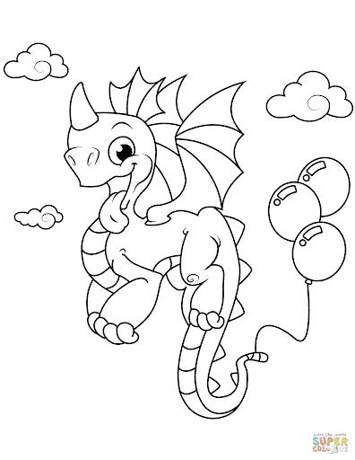 desenho cute de dragão para pintar