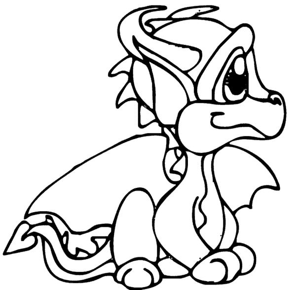 desenho de filhote de dragão para pintar