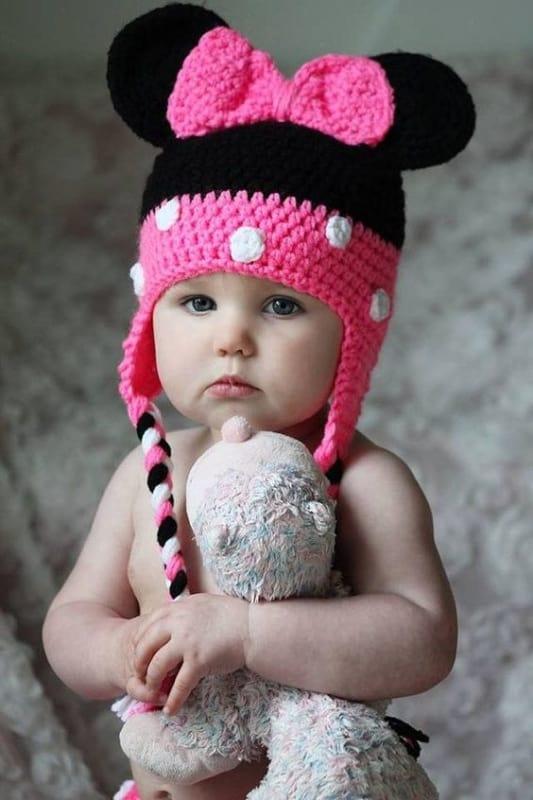touca de crochê da Minnie para bebê