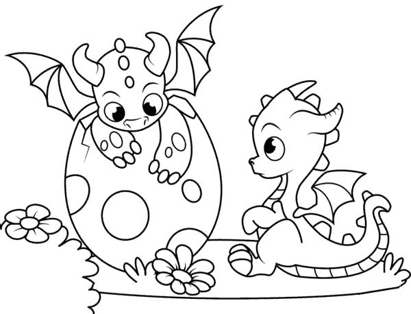 desenho de dragão nascendo para pintar