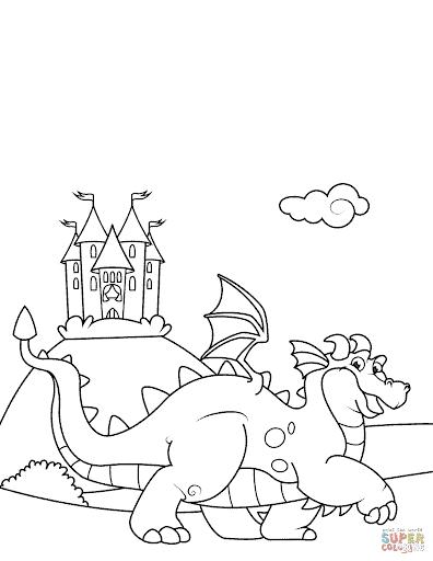 desenho de dragão e castelo para imprimir e pintar