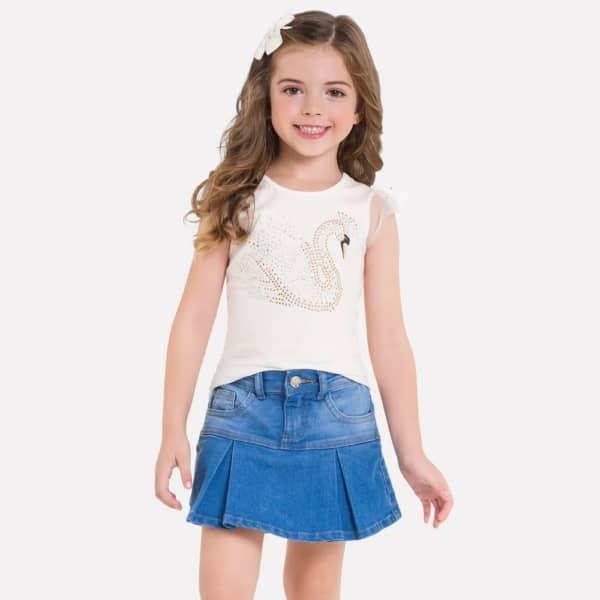 short saia infantil com drapeado