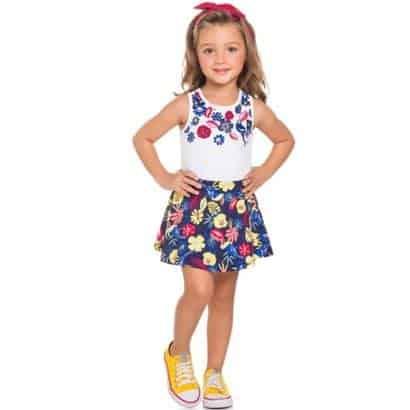 short saia infantil estampa floral