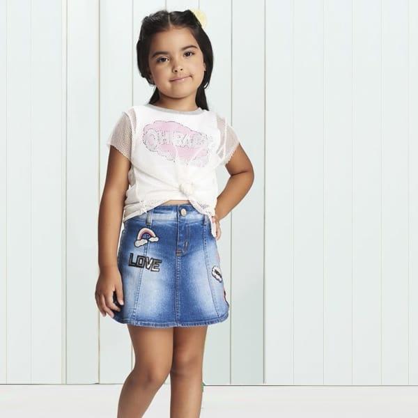 short saia infantil jeans com estampas