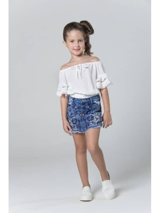 short saia infantil jeans