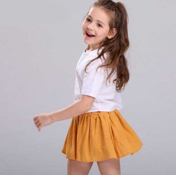 short saia infantil laranja
