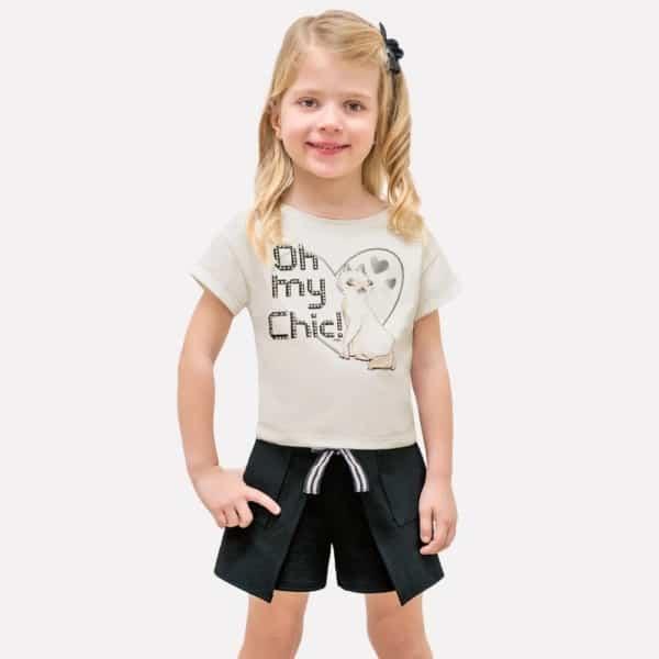 short saia infantil look festa