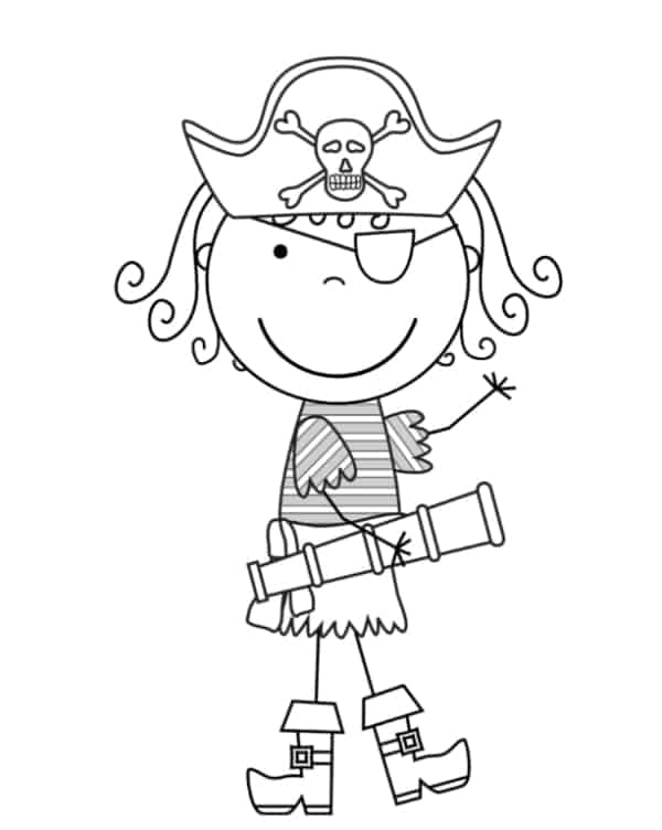 desenho de menina pirata para colorir