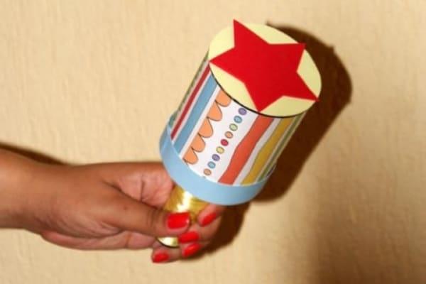 chocalho infantil com lata reciclada