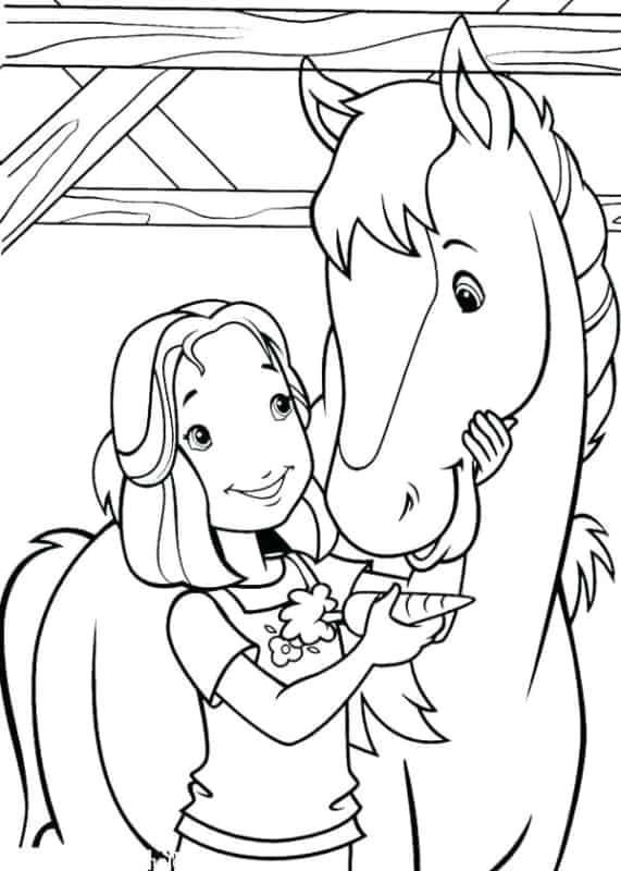desenho de menina com cavalo para pintar
