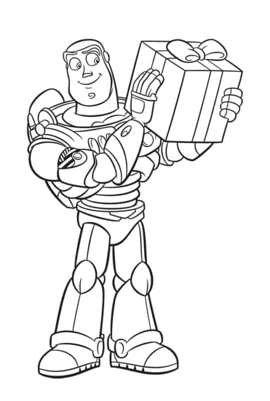 desenho do Buzz com caixa de presente para pintar