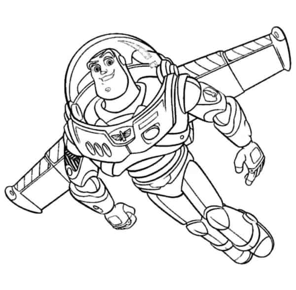 desenho do Buzz voando para colorir