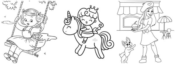 desenhos simples de menina para imprimir e colorir
