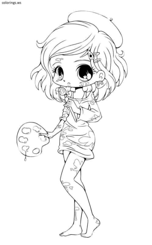desenho de menina cute para pintar