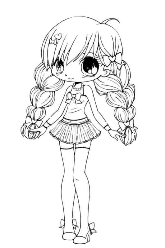 desenho fofo de menina para colorir