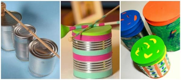 intrumentos musicais reciclados com lata