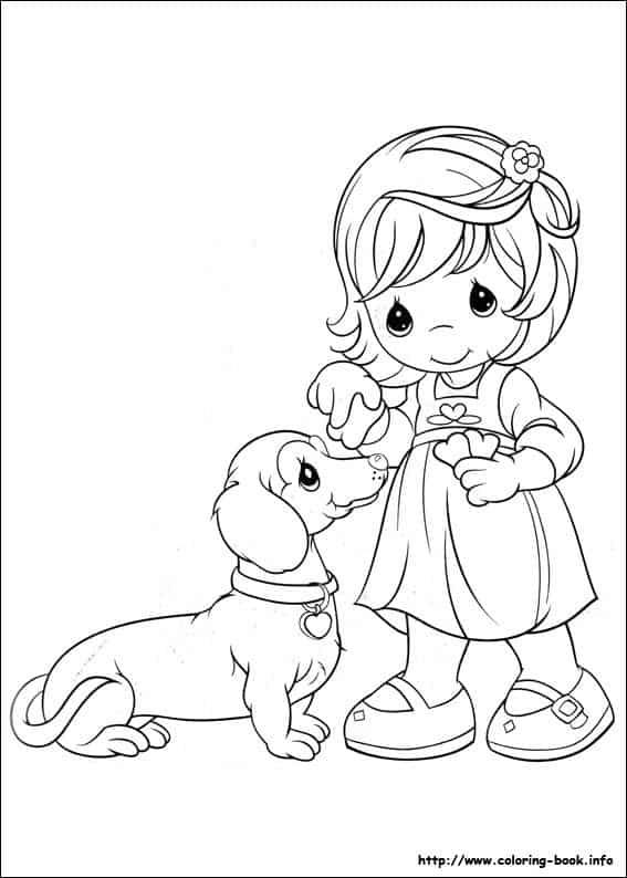 desenho cute de menina com cachorrinho