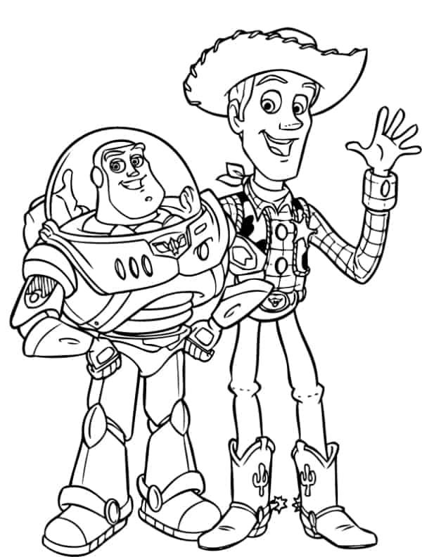 desenho do Woody com Buzz para colorir