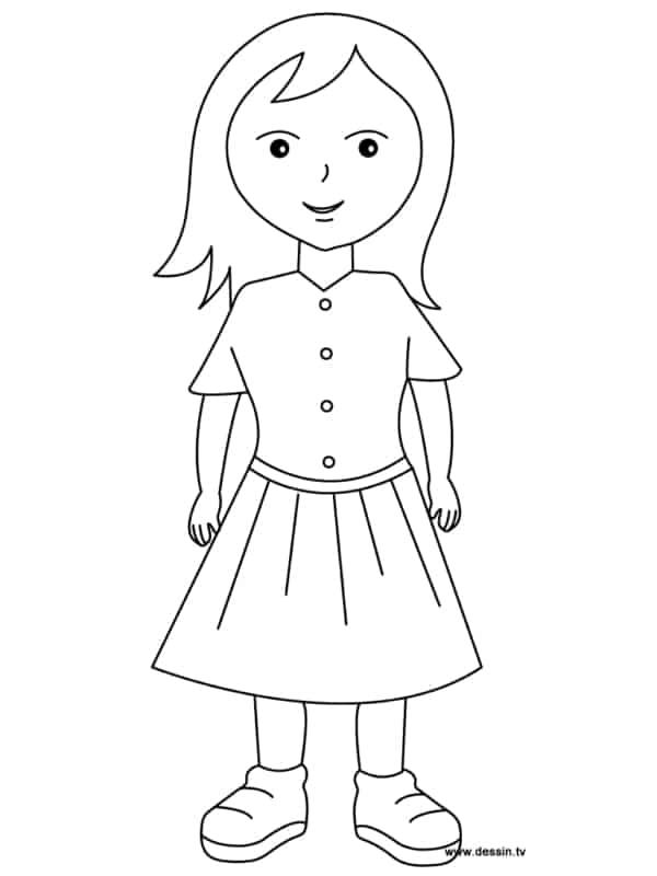 desenho simples de menina para pintar