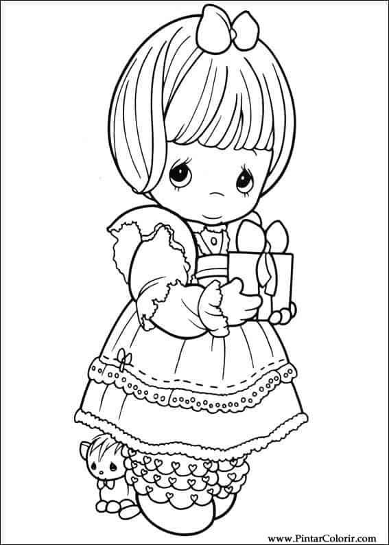 desenho cute de menina para colorir