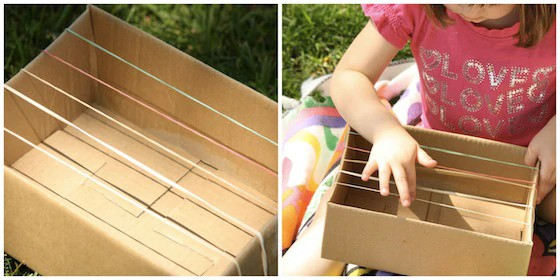 instrumento musical simples feito com caixa de papelão