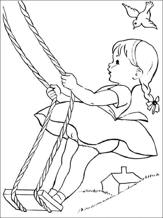 desenho de menina no balanço para colorir