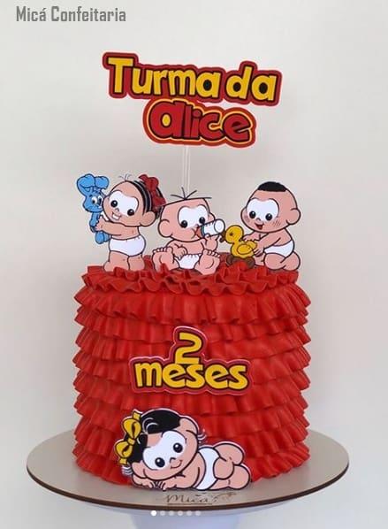 bolo redondo pequeno decorado com turma da mônica bebê