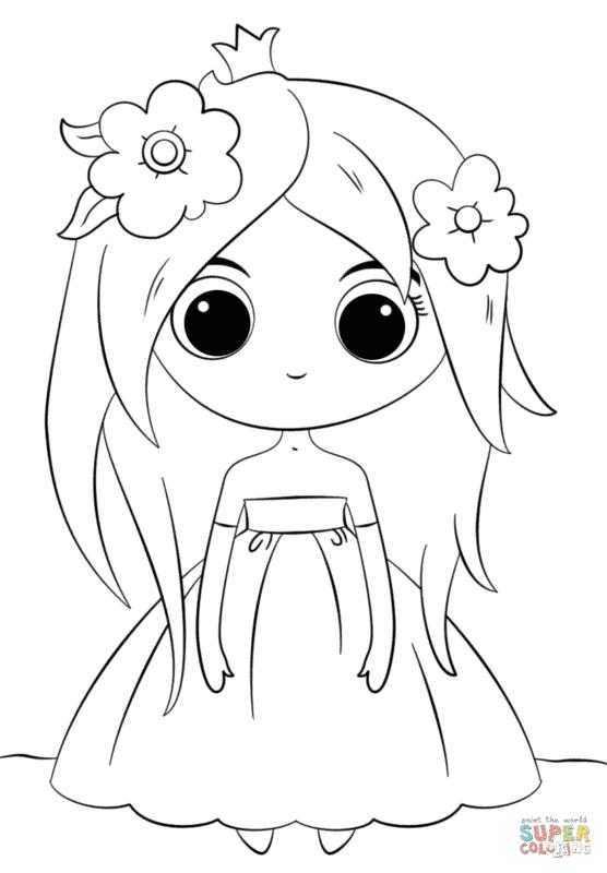 desenho fofo de menininha para colorir