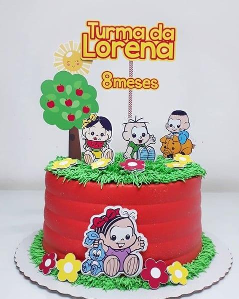 bolo decorado com toppers da turma da mônica baby