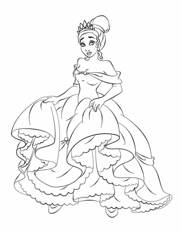 desenho princesa Tiana para pintar