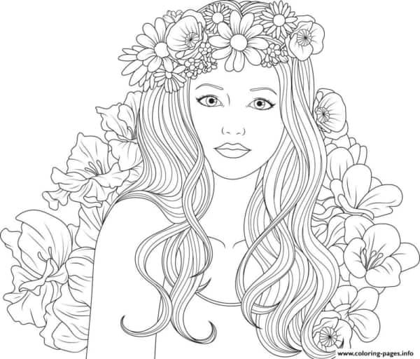 desenho de menina com flores para colorir