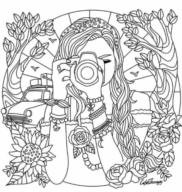 desenho com detalhes de menina para colorir