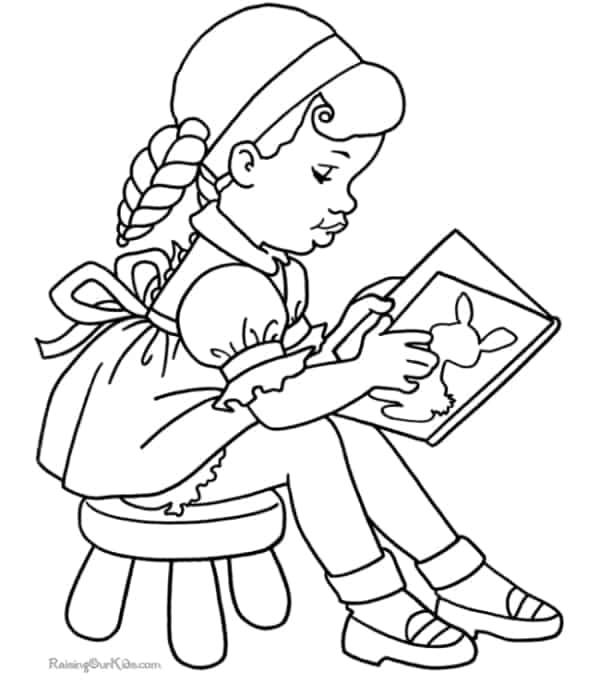 desenho de menina lendo livro para colorir