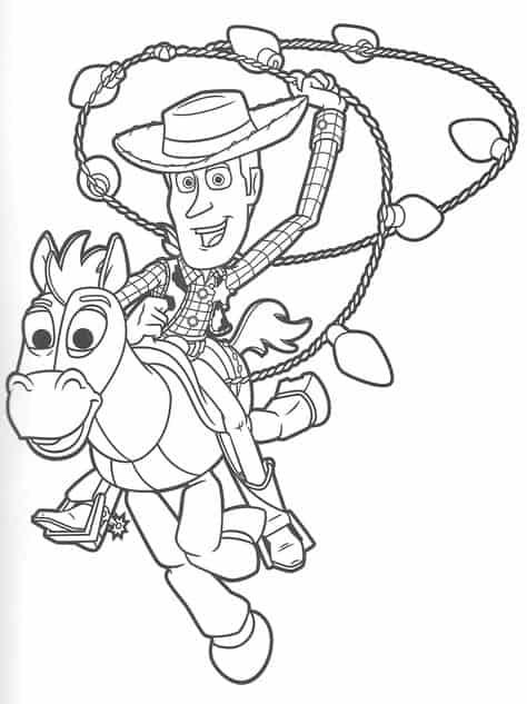 desenho do Woody no cavalo para pintar
