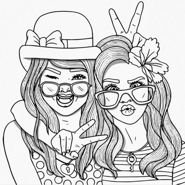 desenho de amigas para colorir