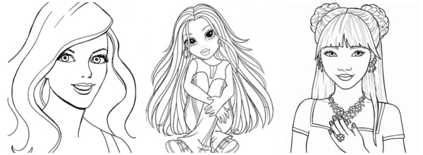 desenhos de meninas jovens para imprimir e colorir