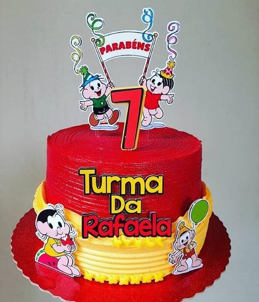 bolo da turma da mônica simples em vermelho e amarelo
