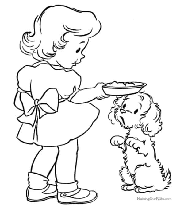 desenho simples de menina com cachorro