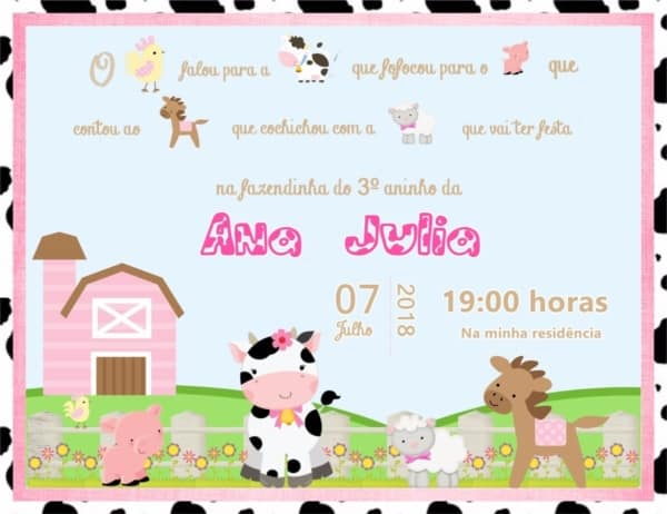 convite Fazendinha rosa